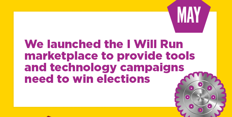 We launched the I Will Run marketplace to provide tools and technology campaigns need to win elections