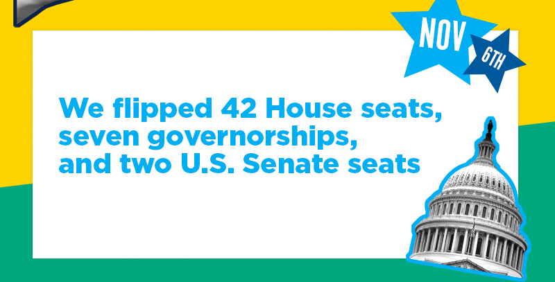 We flipped 42 House seats, seven governorships, and two U.S. Senate seats
