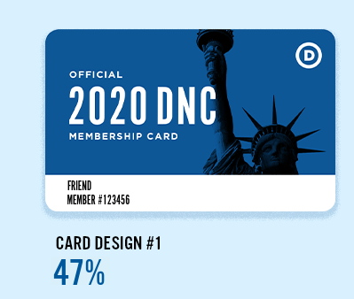 2020 DNC Membership Card #1: Blue Statue of Liberty