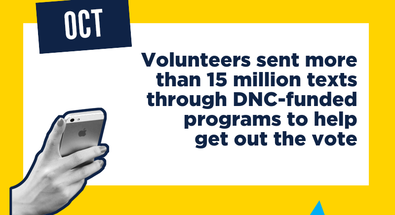 Volunteers sent more than 15 million texts through DNC-funded programs to help get out the vote
