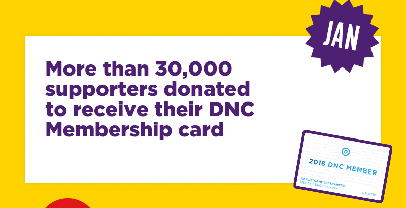 More than 30,000 supporters donated to receive their DNC Membership card
