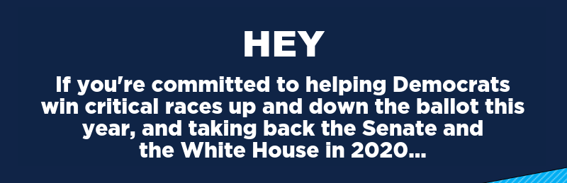 If you're committed to helping Democrats win critical races up and down the ballot this year, and taking back the Senate and the White House in 2020