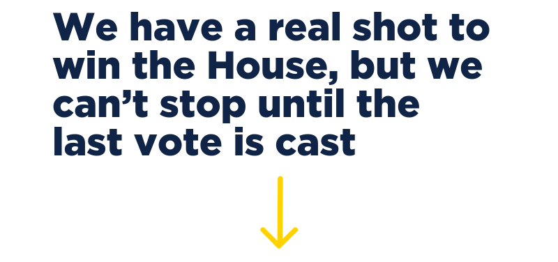 We have a real shot to win the House, but we can't stop until the last vote is cast