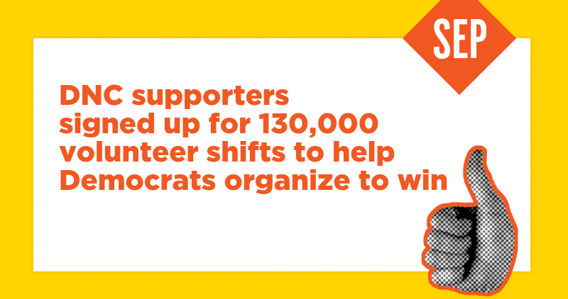 DNC supporters signed up for 130,000 volunteer shifts to help Democrats organize to win