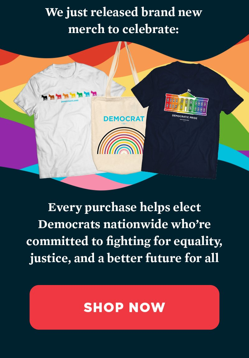 We just released brand new merch to celebrate. Every purchase helps elect Democrats nationwide who're committed to fighting for equality, justice, and a better future for all. Shop now.